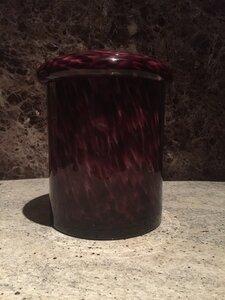 Rood Paars gevlamde glazen urn groot