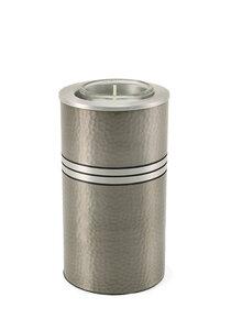 Metallic Zilver messing mini urn met waxinelichtje